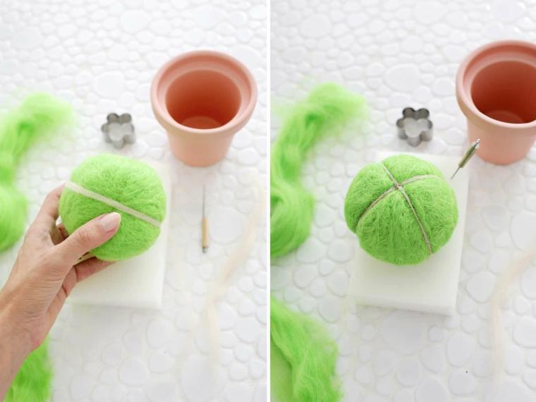 Cuscino perni di rotolo di lana verde, idee regalo festa dei nonni