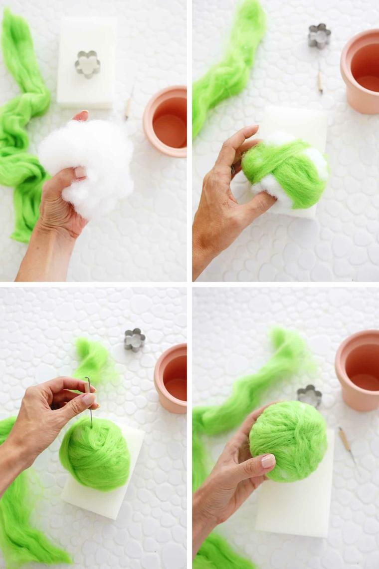 Lavoretti per la festa dei nonni, tutorial per cuscino perni con lana verde infeltrita