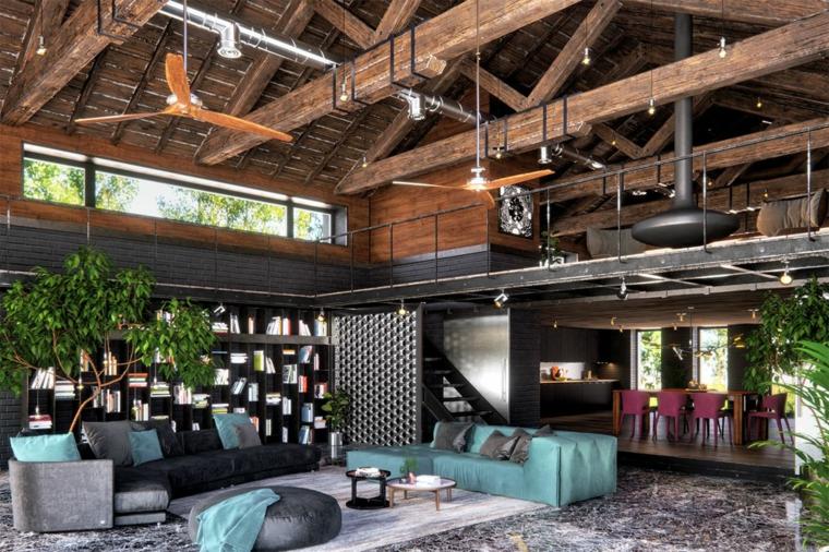 Mobili in stile industriale, appartamento con soppalco in legno, arredare un loft