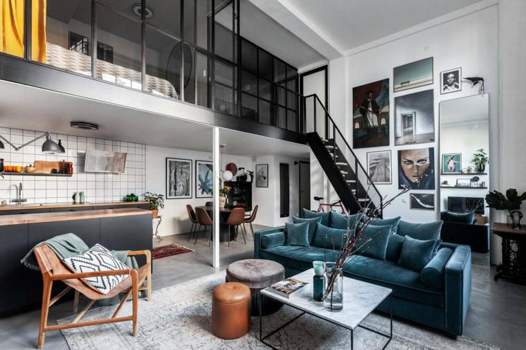 Arredare un open space, cucina e soggiorno insieme, appartamento con soppalco