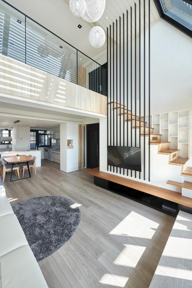 Come arredare un loft, appartamento con scale interne, cucina con tavolo da pranzo