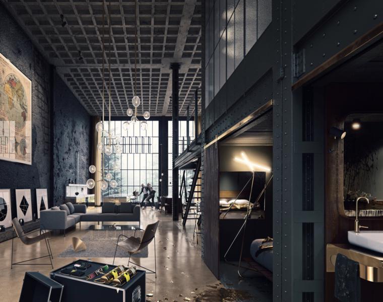 Ambiente loft open space, arredamento industrial, soggiorno con divano angolare