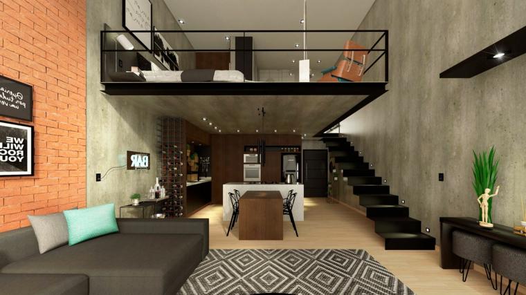 Come arredare un open space, appartamento con soppalco, cucina con isola centrale