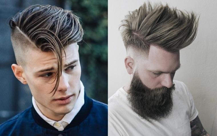 Come si tagliano i capelli, collage di due foto, uomo con barba lunga