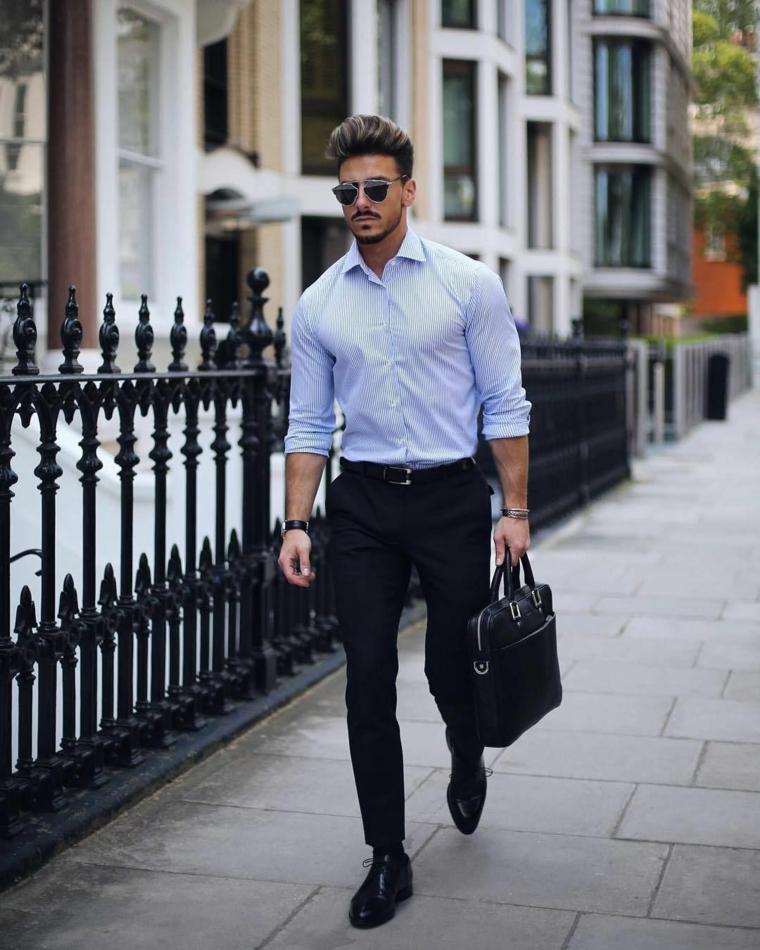 Taglio capelli uomo corti, uomo elegante che cammina, capelli castani con pompadour