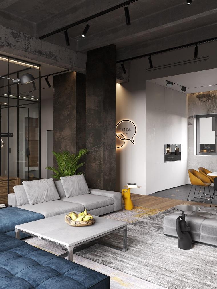 Case moderne interni open space, soggiorno con divano e tavolo da pranzo
