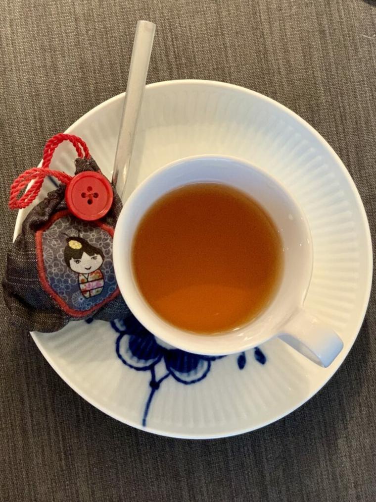 Tazzina con busta da tè di stoffa, regali per la festa dei nonni, tazza da tè