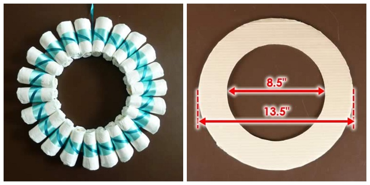 Fiocchi nascita da esterno, cerchio di cartone con pannolini e nastro azzurro