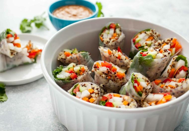 quinoa spring rolls involtini primavera ingredienti ricetta apericena carta di riso verdure