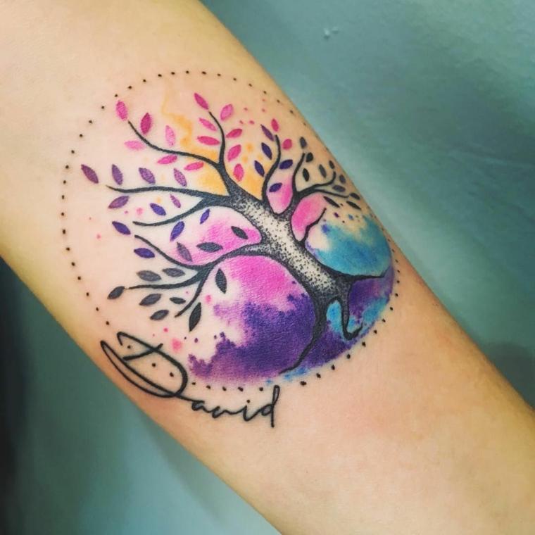 albero della vita celtico tatuaggio avambraccio donna colorato cerchio