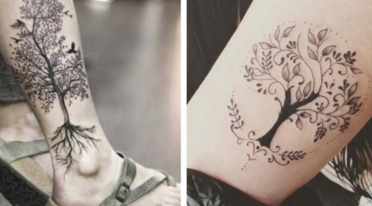 albero della vita disegni stilizzati disegno tattoo gamba tatuaggio donna