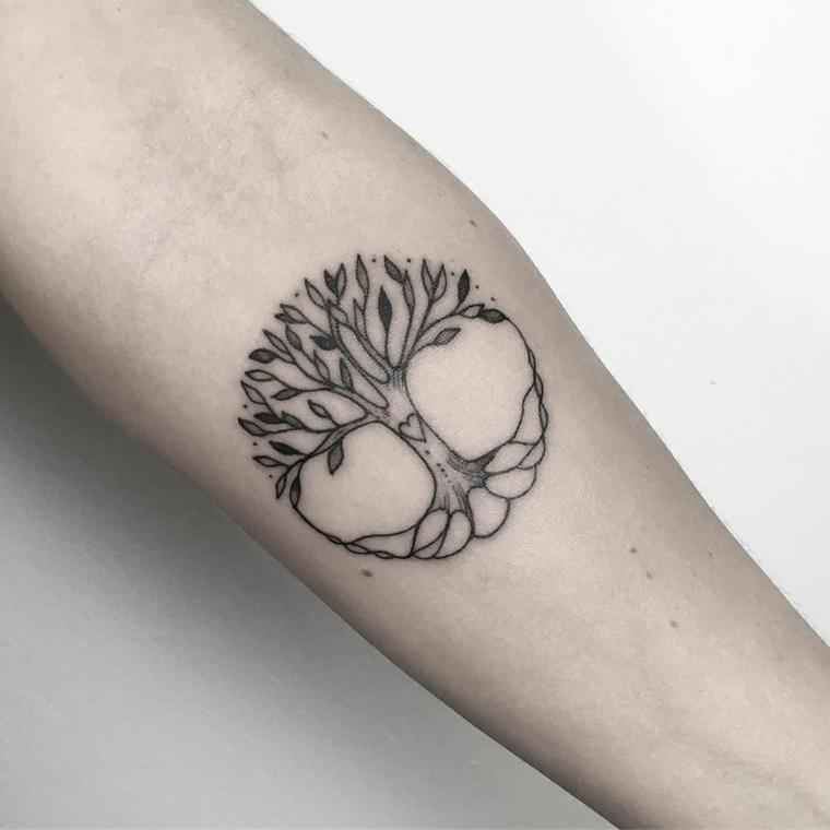 albero della vita disegno semplice avambraccio donna braccio tattoo forma cerchio