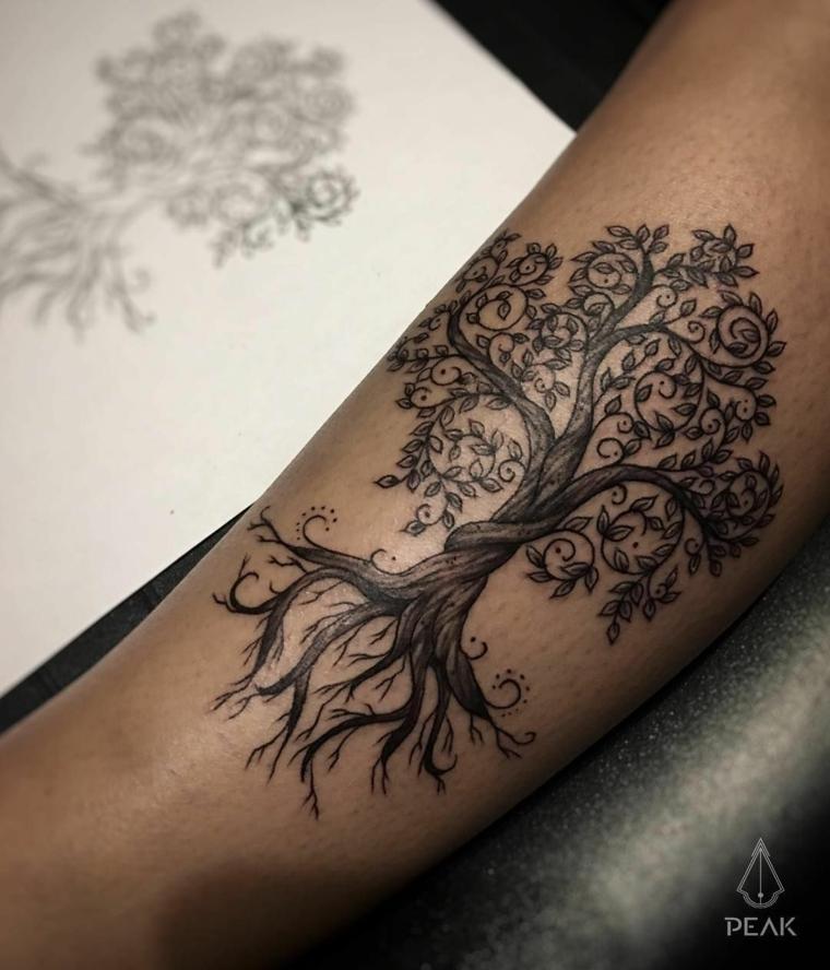 albero della vita disegno semplice avambraccio uomo braccio schizzo foglio bianco