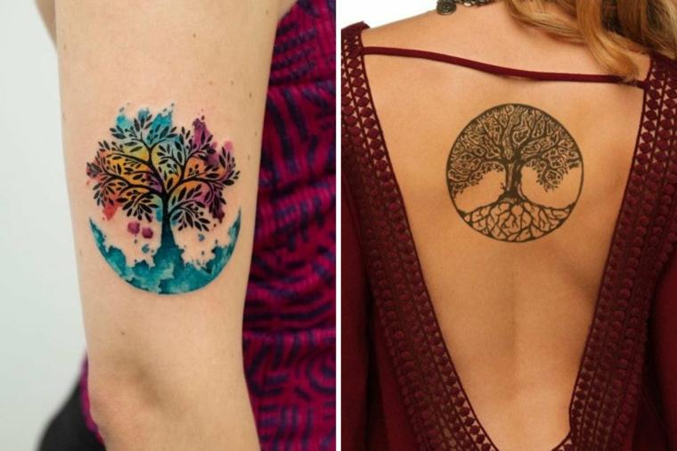 albero della vita significato simbolico cerchio colorato schiena donna tattoo braccio