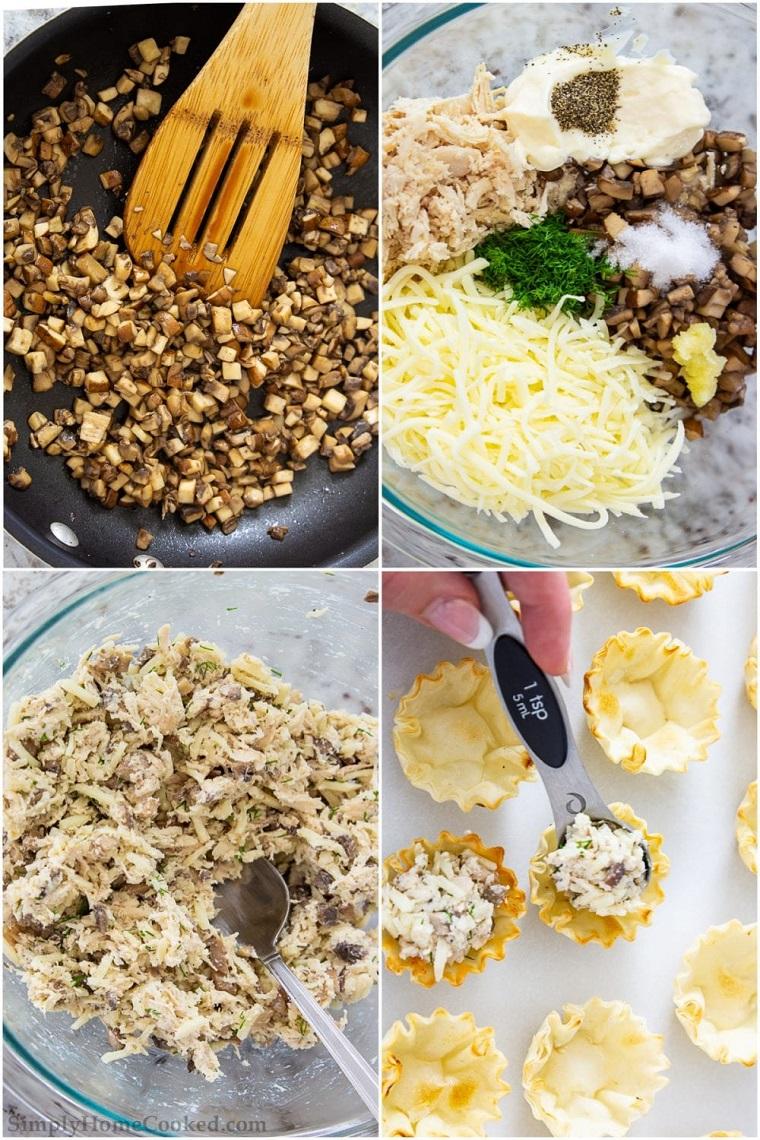 apericena cosa fare ingredienti tutorial ricetta cestini pasta filo formaggio funghi pollo
