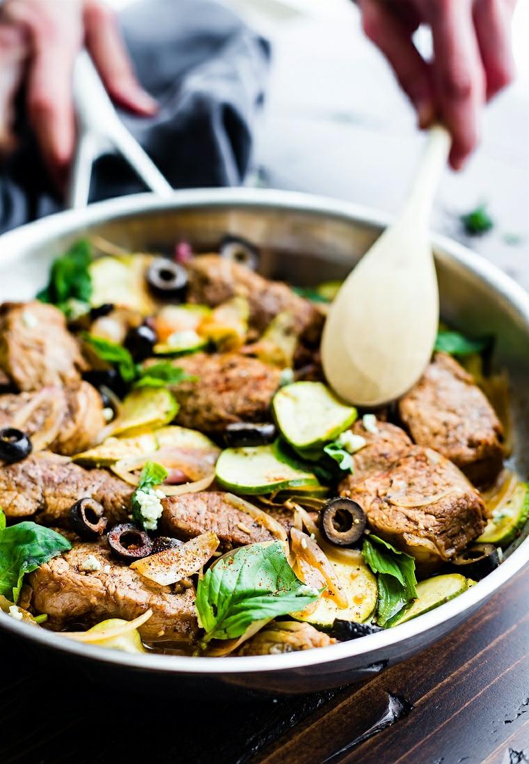 bocconcini maiale olive basilico padella ricette facili e veloci per cena