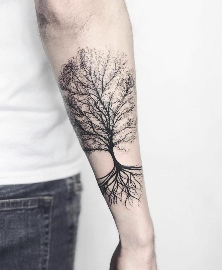 braccio uomo albero della vita significato simbolico tatuaggio maschile