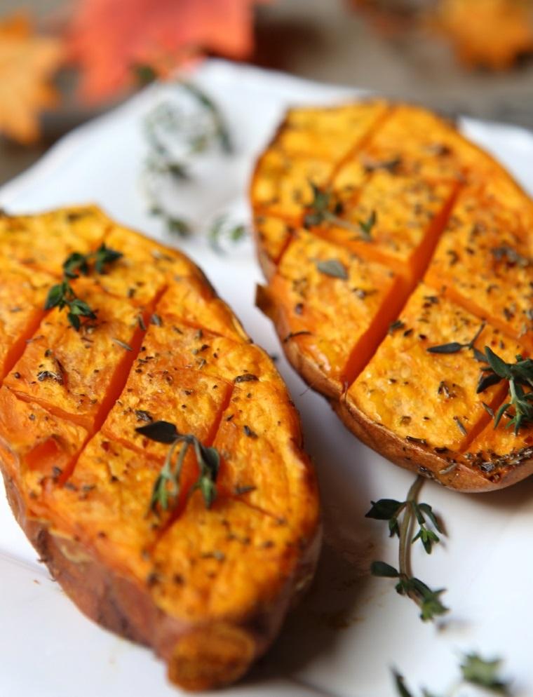 cena veloce senza carne patate dolci forno erbette secche condimento piatto vegetariano