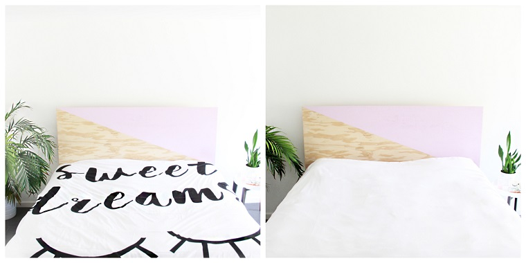 Testiera letto fai da te, testata letto con pannello di legno dipinto a metà, lenzuola matrimoniali con scritta