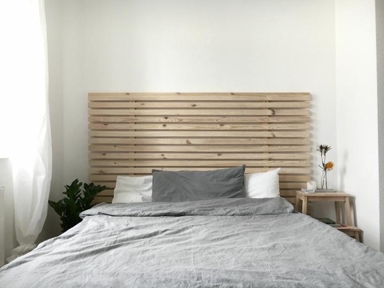 Come rivestire una testata del letto, spalliera con ringhiera di legno, camera con letto matrimoniale