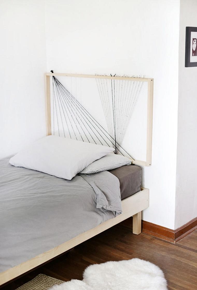 Testiera letto matrimoniale legno, cornice di legno con corda, testata del letto fai da te