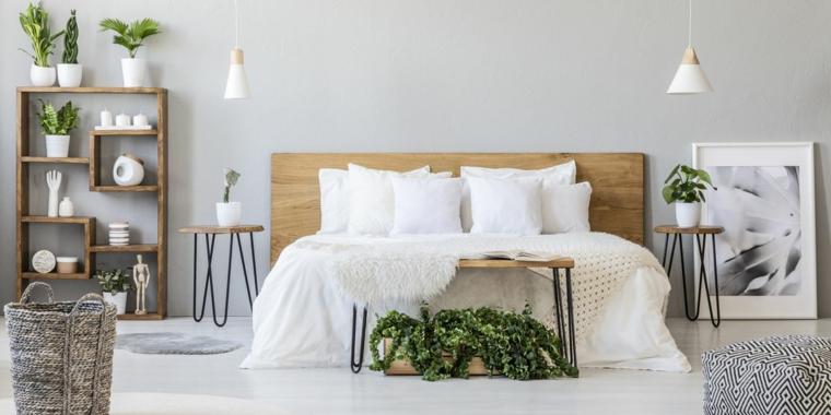 Come fare una testiera, testata del letto con un pannello di legno, camera con letto matrimoniale