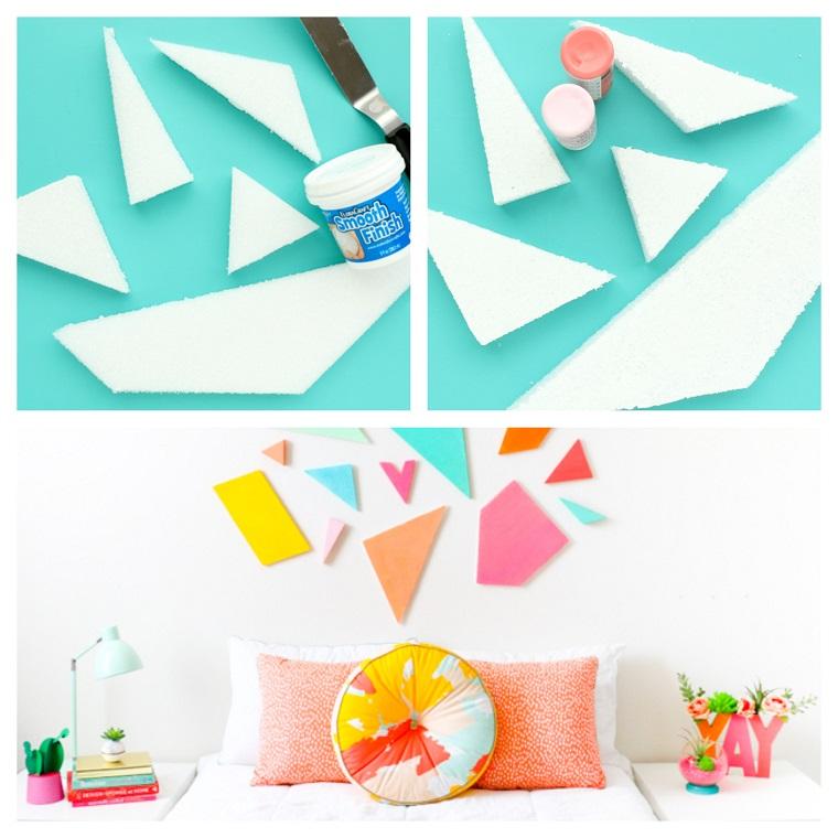 Testata letto fai da te tutorial, pezzi di polistirolo con barattoli di vernice colorata