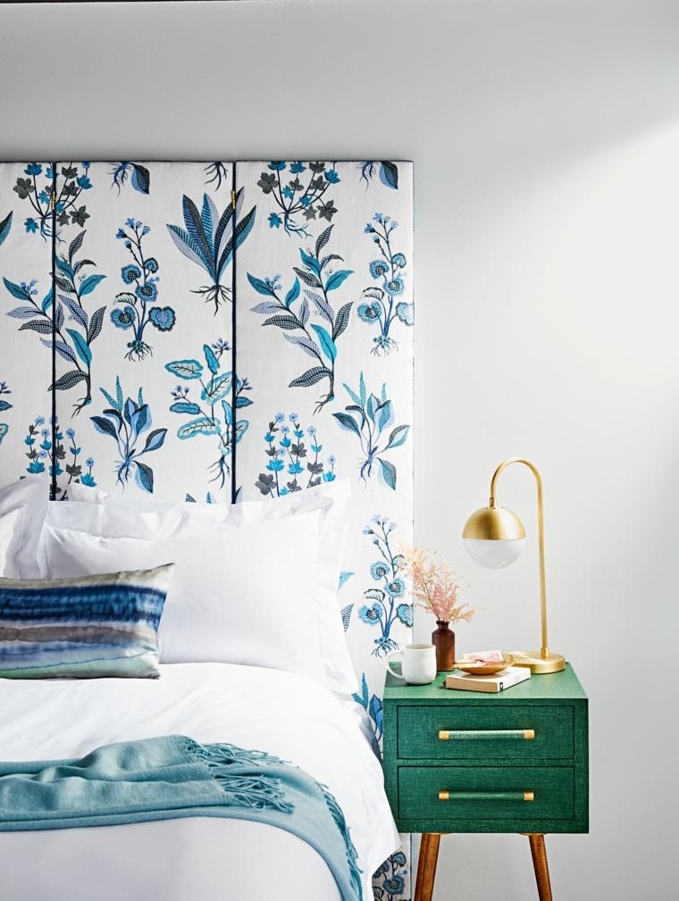 Come fare testiera del letto, camera da letto con comodino verde, pannello di legno dipinto
