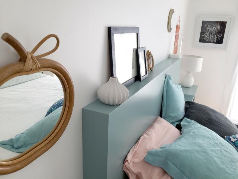 Testiera letto matrimoniale legno, mobili di legno azzurro come testata del letto
