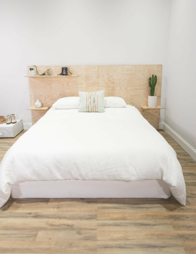 Come fare una testiera, pannello di legno con mensole, camera da letto matrimoniale