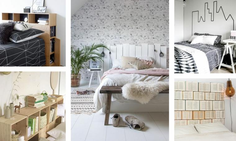 Testiera letto matrimoniale legno, collage di foto di camere da letto