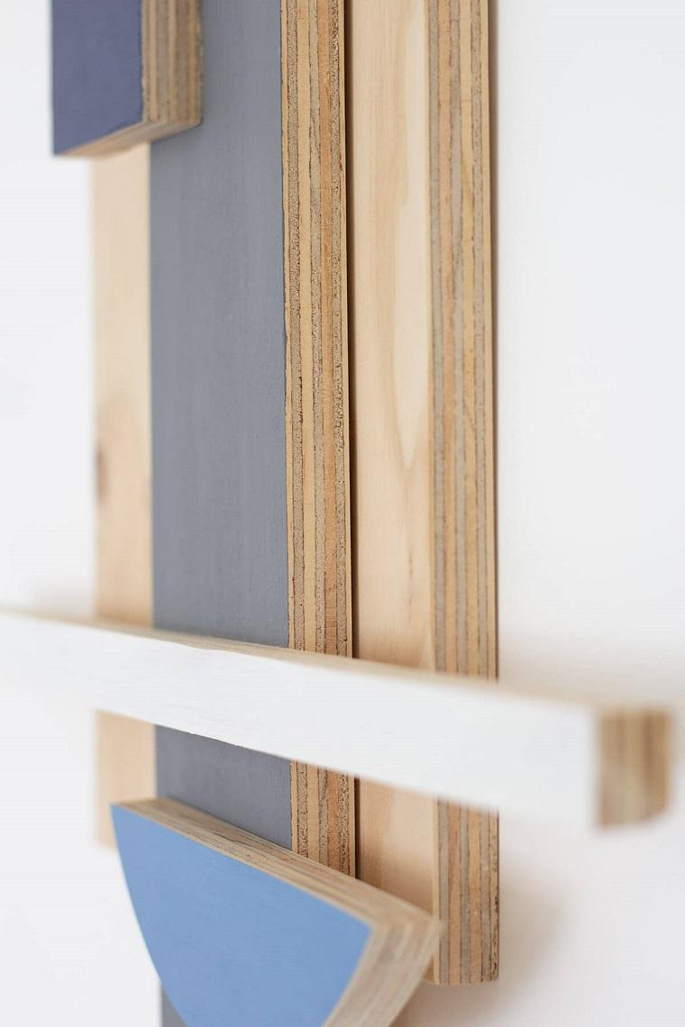 Oggetti in legno fai da te, decorazione da parete con pannelli di legno dipinti
