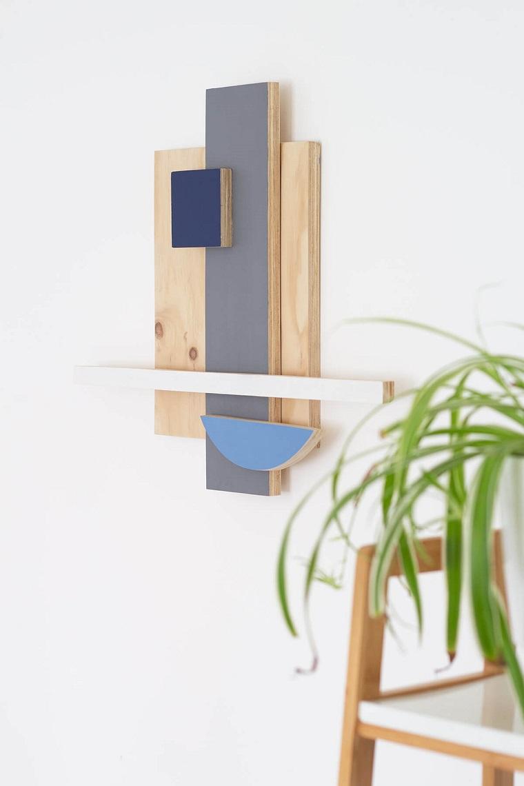 Lavoretti in legno fai da te, decorazione da parete con pannelli di legno dipinti