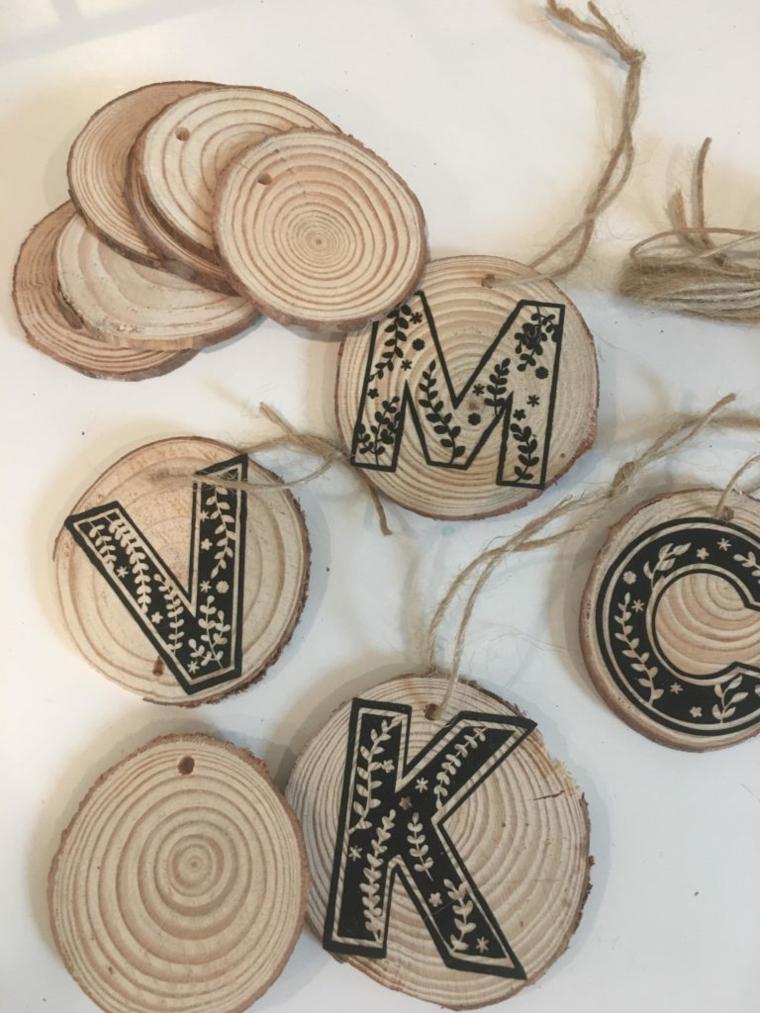 Rondelle di legno con filo di canapa, lavoretti in legno fai da te