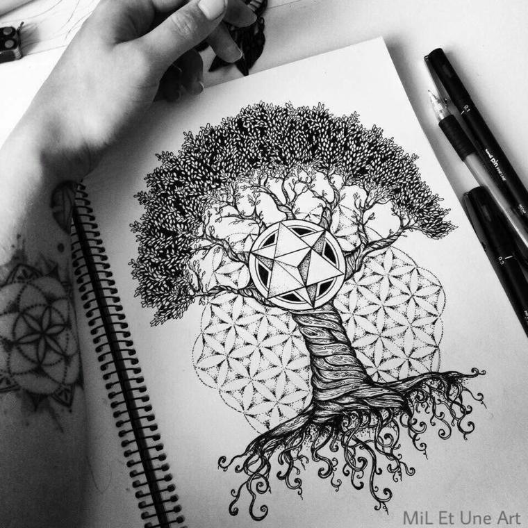 disegni per tatuaggi famiglia quaderno anelli albero rami foglie motivi mandala