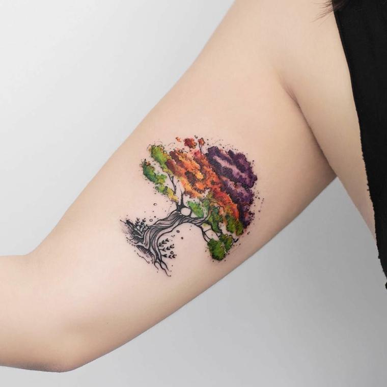 disegni tatuaggi piccoli albero della vita braccio donna tattoo colorato