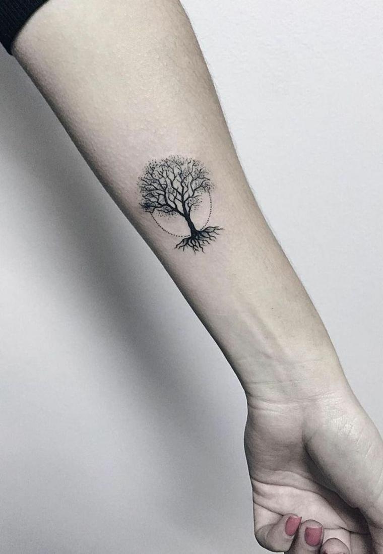 donna albero della vita disegno semplice tattoo avambraccio disegno mano