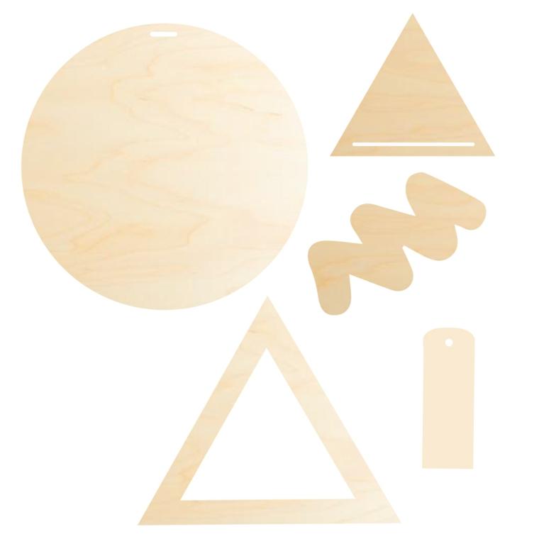 Oggetti in legno fai da te, stencil in legno con forme geometriche da dipingere