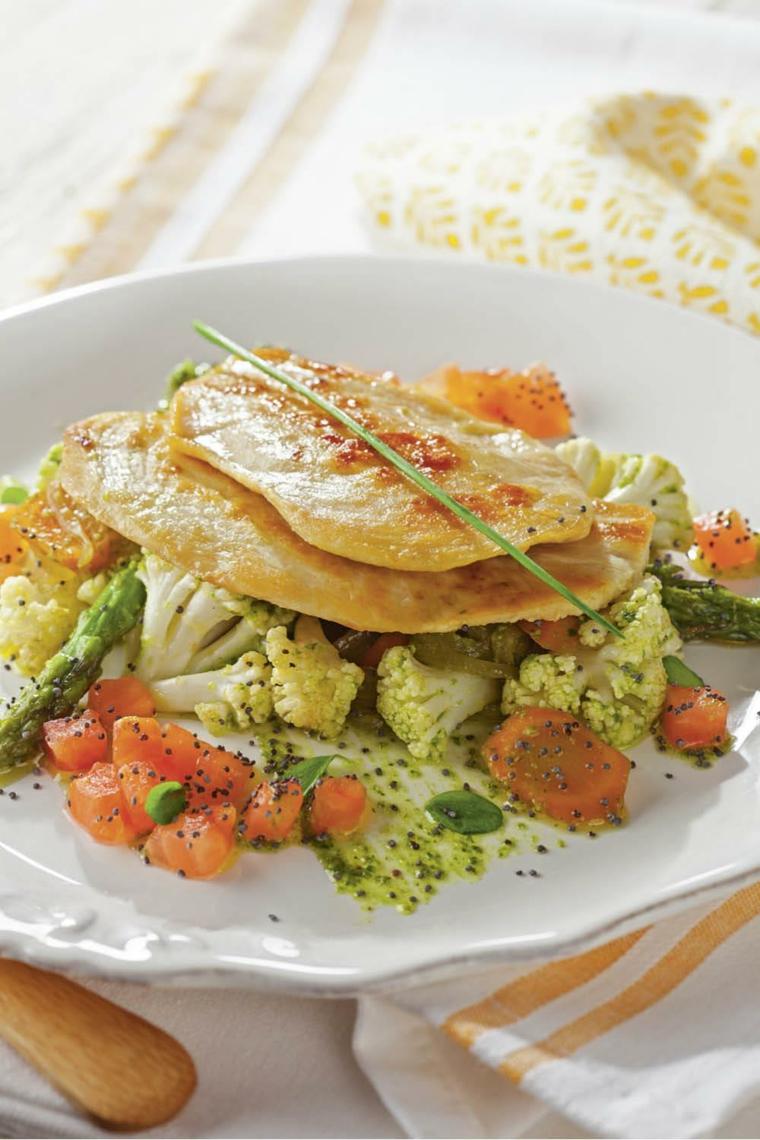 filetti pollo griglia cena tra amici ricette sfiziose contorno verdure vapore broccoli cavolfiore
