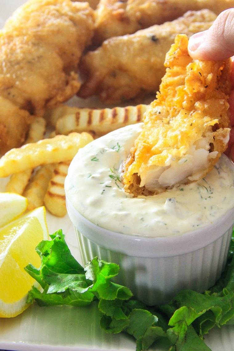 finger food da fare in anticipo filetti di merluzzo fritti salsa yogurt limone