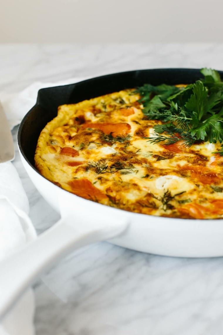 frittata uova salmone spinaci apericena ricette vegetariane frutti di mare pesce