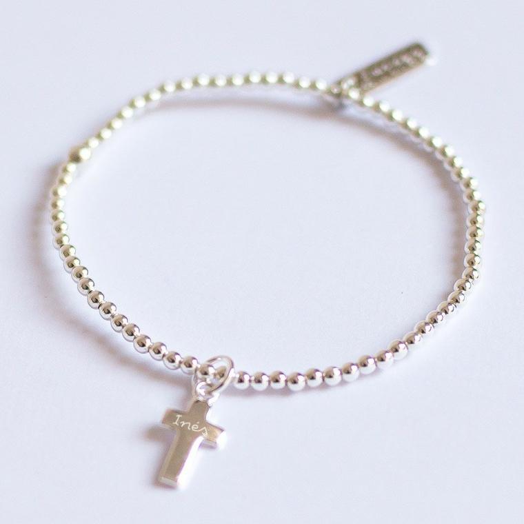 gioielli battesimo bimba braccialetto argento ciondolo croce scritta nome regalo