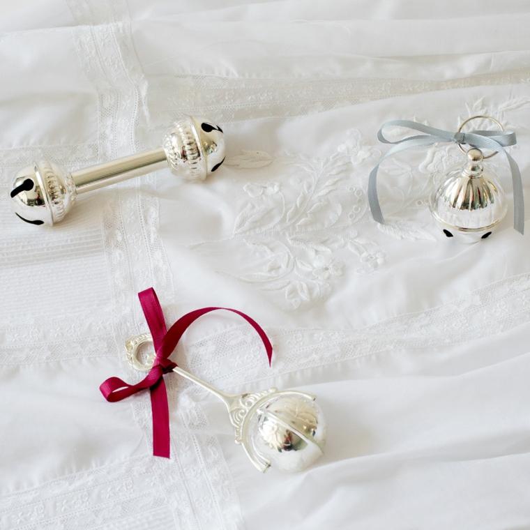 gioielli battesimo bimba fiocco rosso campanella nastri regali originali