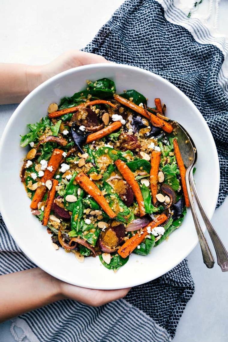 insalata vegetariana quinoa carote verdure ciotola apericena stuzzichini veloci