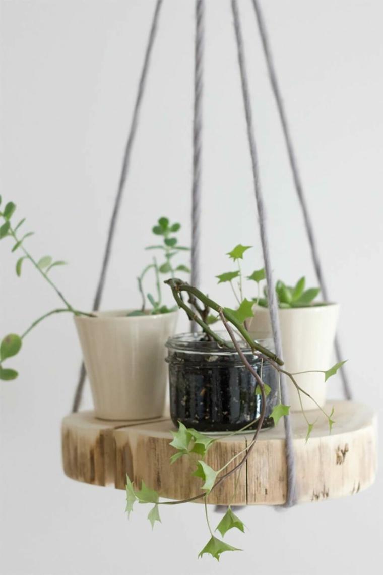 Mensola di legno flottante con corda, tronchetto di legno con vasi di piante