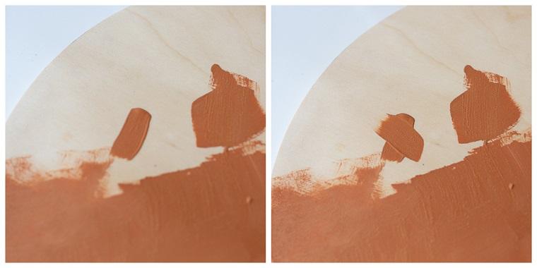 Dipingere con colori acrilici due semicerchi di legno, invenzioni con il legno