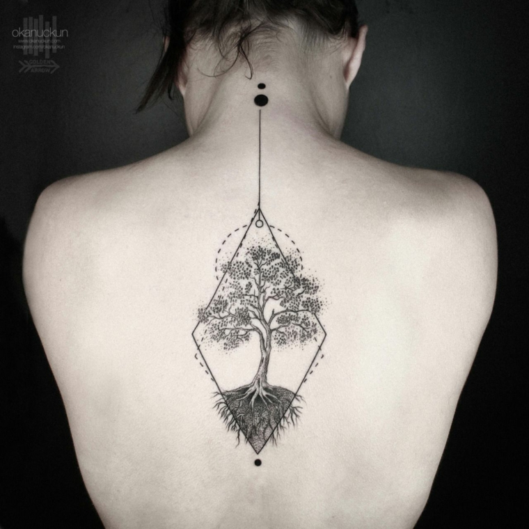 mandala albero della vita tatuaggio schiena donna tatto puntini linee