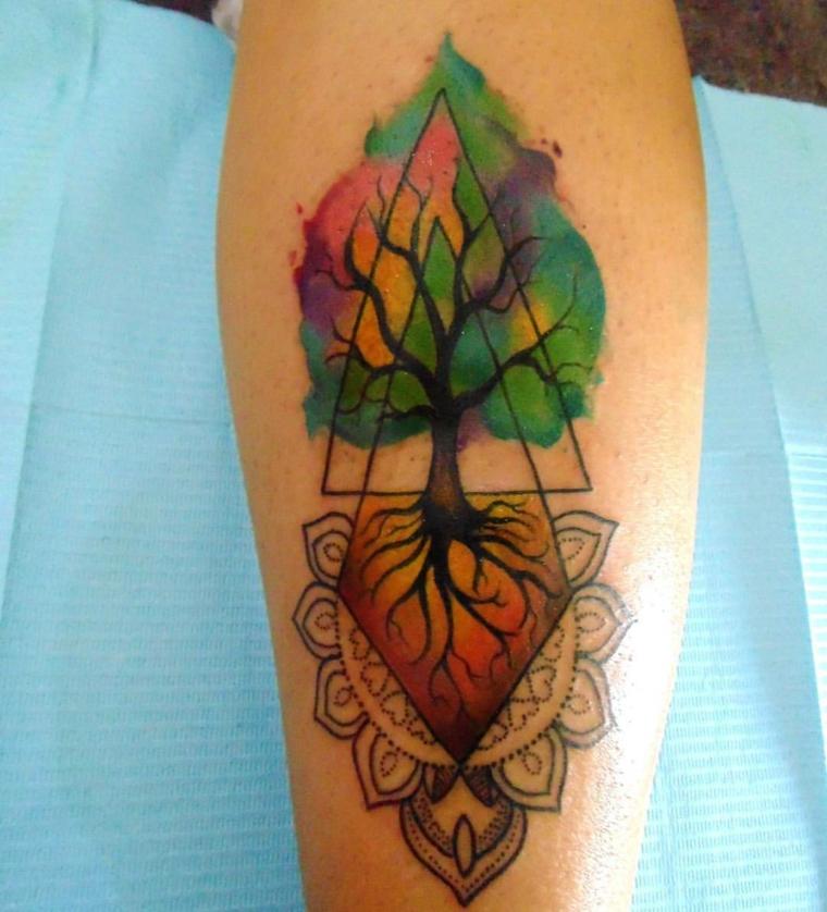 mandala albero della vita triangoli tattoo colori tatuaggio colorato avambraccio