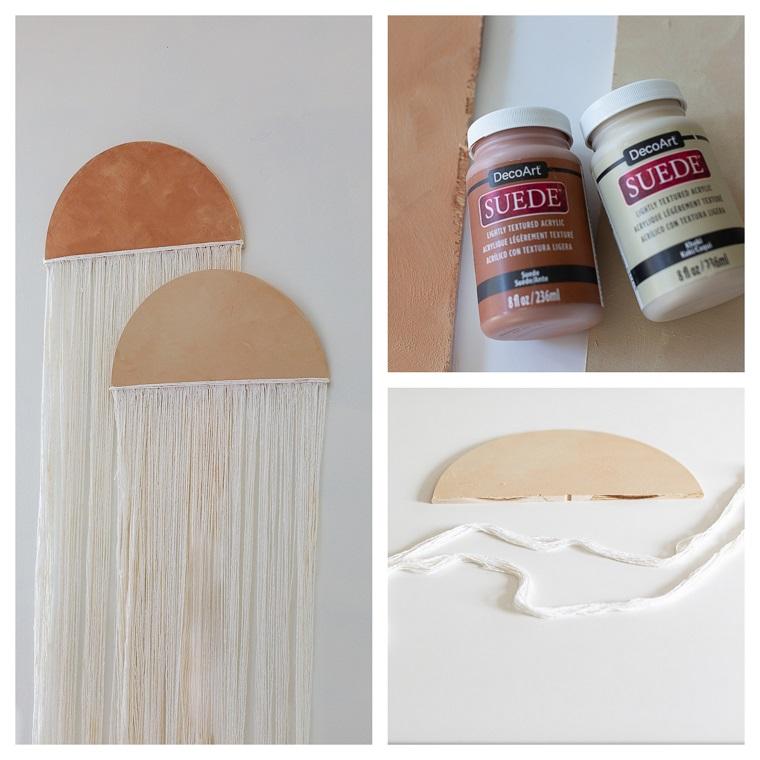 Invenzioni con il legno, decorazione da parete con legno e fili di lana bianca