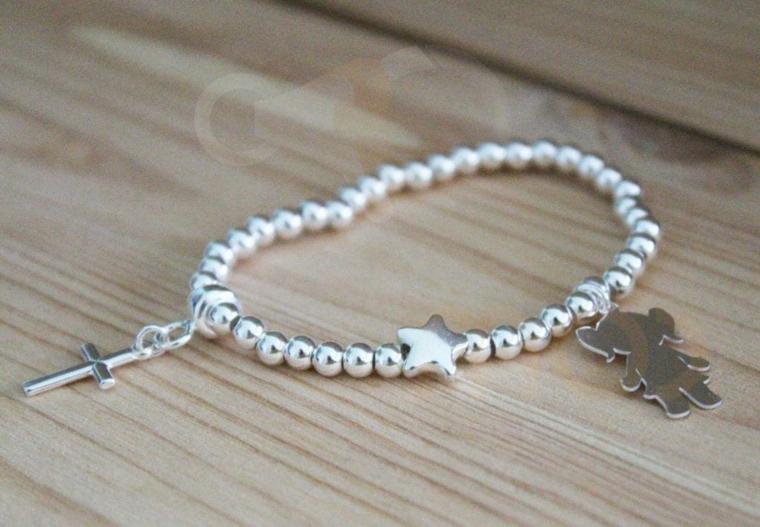 regalo battesimo bimba originale braccialetto argento croce ciondoli